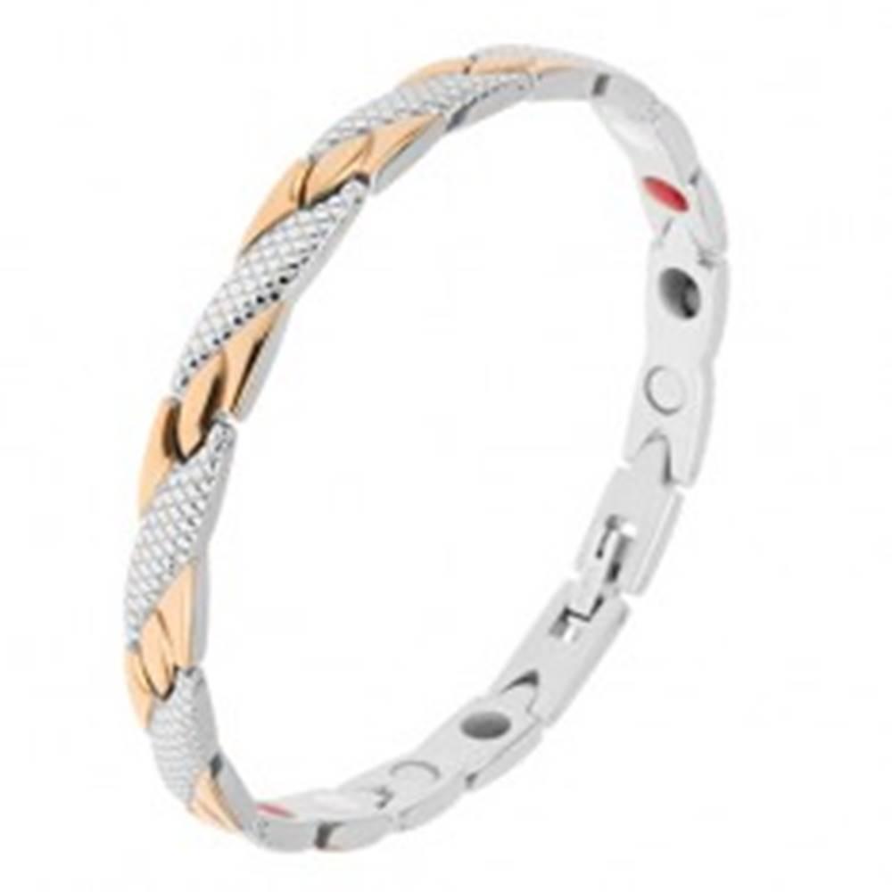 Šperky eshop Náramok z ocele zlatej a striebornej farby, šikmé pásiky, hadí vzor, magnety