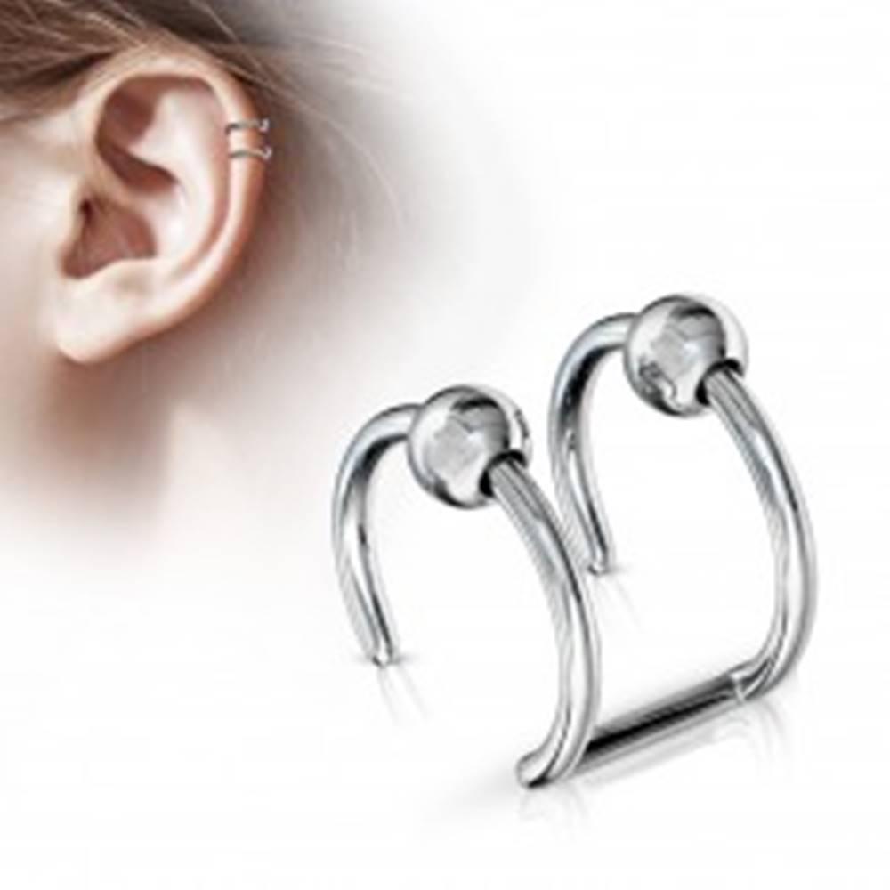 Šperky eshop Oceľový fake piercing do chrupavky - dva krúžky s guličkou