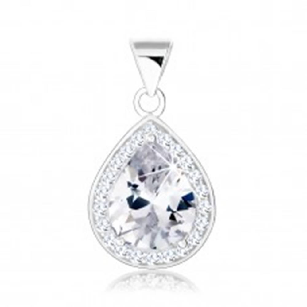 Šperky eshop Prívesok, striebro 925, zirkónová kvapka, trblietavá obruba, výrezy