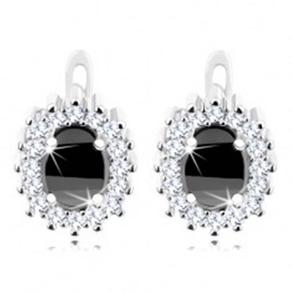 Šperky eshop Ródiované náušnice, striebro 925, čierny zirkónový ovál, číra ligotavá kontúra