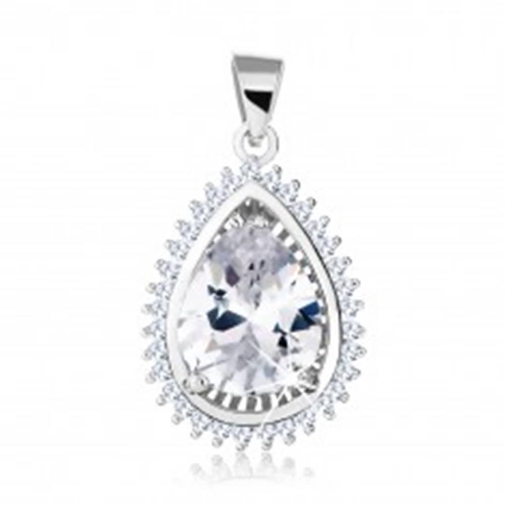 Šperky eshop Strieborný 925 ródiovaný prívesok, brúsený číry zirkón v podobe slzy