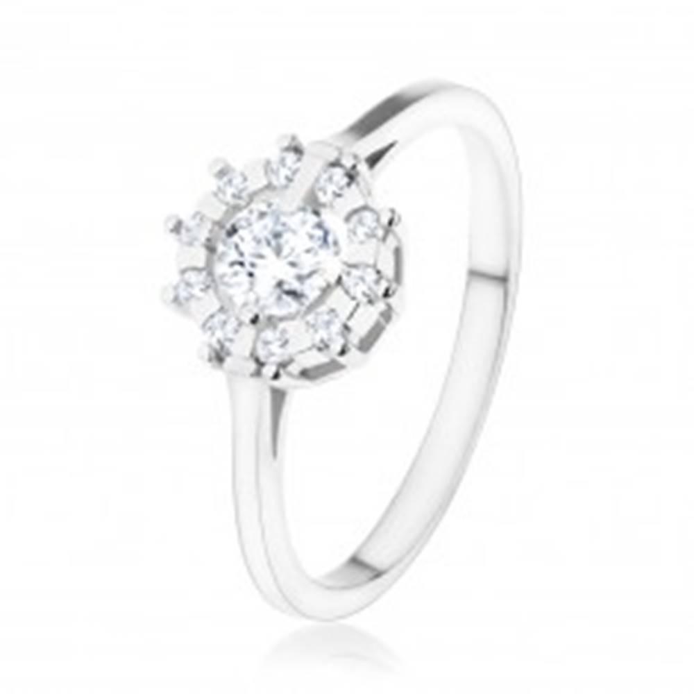 Šperky eshop Zásnubný prsteň - striebro 925, trblietavé zirkónové slnko čírej farby - Veľkosť: 48 mm
