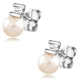Briliantové náušnice z bieleho zlata 585 - číry diamant medzi paličkami, perla