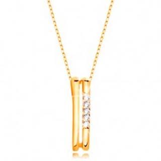 Náhrdelník v žltom 14K zlate - dva tenké zvislé pásiky, línia čírych zirkónov
