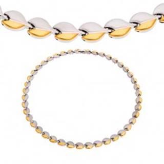 Oceľový náhrdelník s magnetmi, oblé články striebornej a zlatej farby