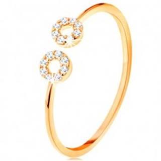 Zlatý prsteň 375 s úzkymi oddelenými ramenami, malé zirkónové obruče - Veľkosť: 49 mm