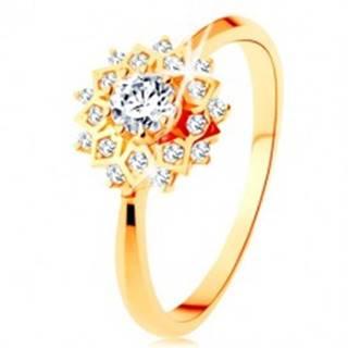 Zlatý prsteň 375 - trblietavé slnko zdobené okrúhlymi čírymi zirkónikmi - Veľkosť: 51 mm