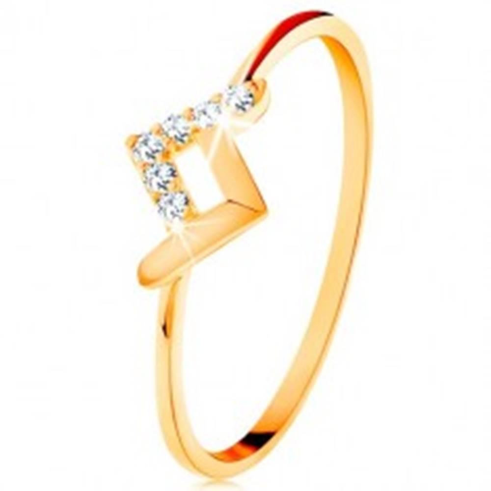 Šperky eshop Ligotavý prsteň v žltom 9K zlate - lesklý a zirkónový zalomený pásik - Veľkosť: 49 mm