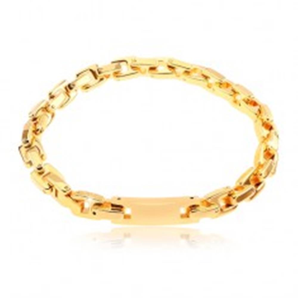 Šperky eshop Náramok z chirurgickej ocele so známkou, reťaz z hranatých článkov, zlatá farba