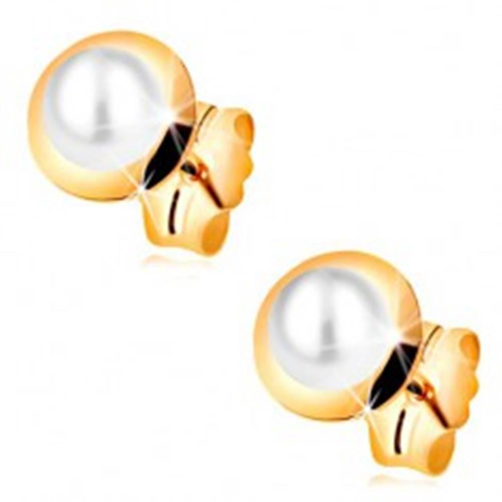 Šperky eshop Náušnice v žltom 14K zlate - biela perla vložená v malom lesklom kruhu