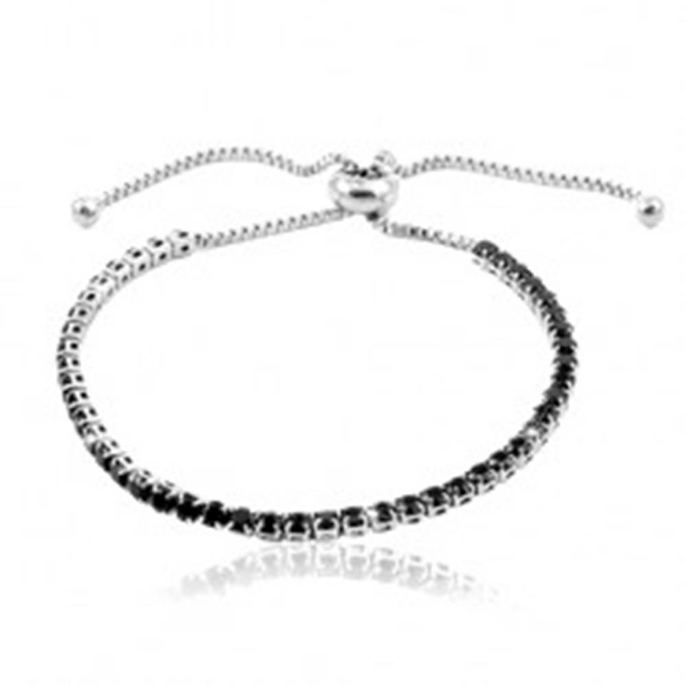Šperky eshop Oceľový náramok striebornej farby, línia okrúhlych čiernych zirkónov