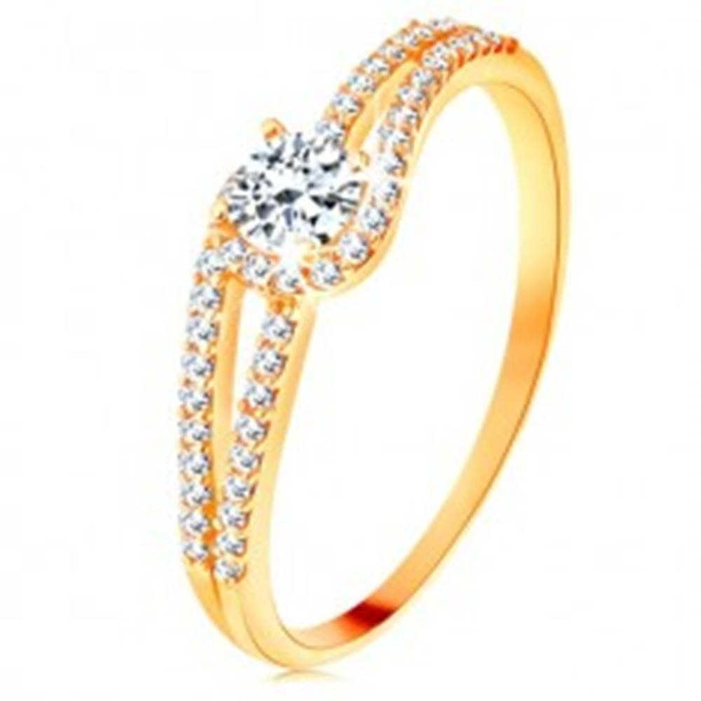 Šperky eshop Zlatý prsteň 375 s rozdelenými trblietavými ramenami, číry zirkón - Veľkosť: 49 mm
