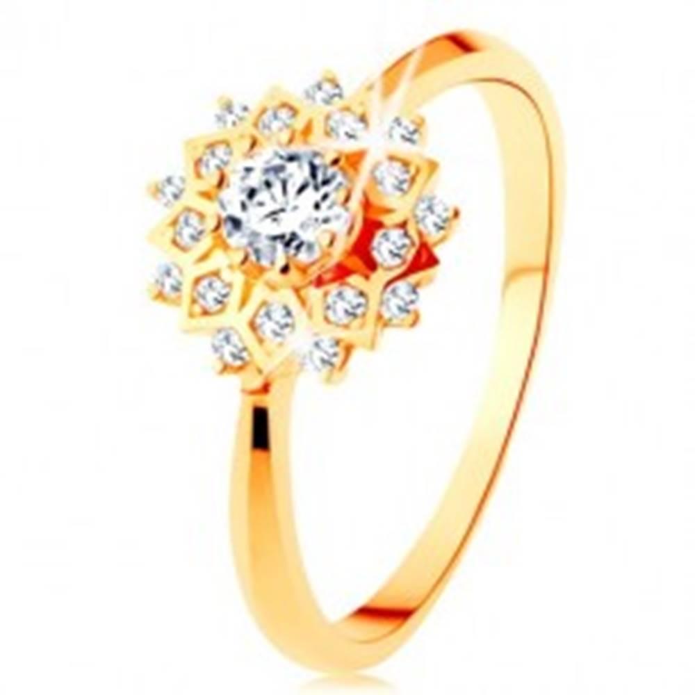 Šperky eshop Zlatý prsteň 375 - trblietavé slnko zdobené okrúhlymi čírymi zirkónikmi - Veľkosť: 51 mm