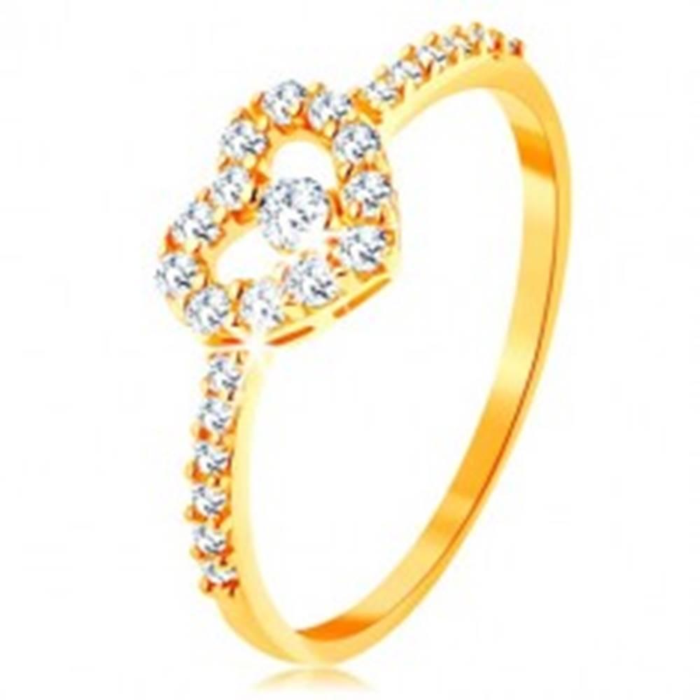 Šperky eshop Zlatý prsteň 375 - zirkónové ramená, ligotavý číry obrys srdca so zirkónom - Veľkosť: 50 mm