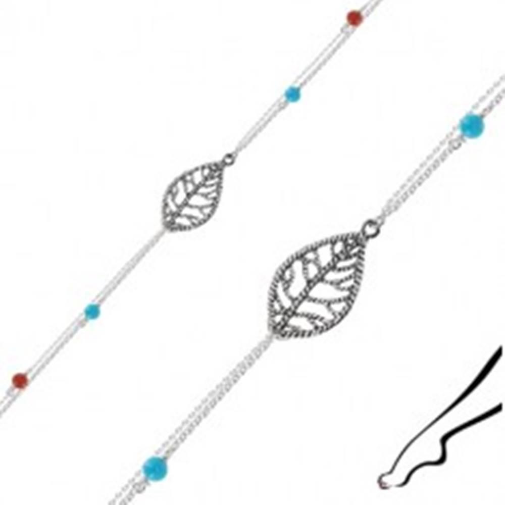 Šperky eshop Náramok na členok zo striebra 925 - list, dvojitá retiazka, modré a červené guľôčky