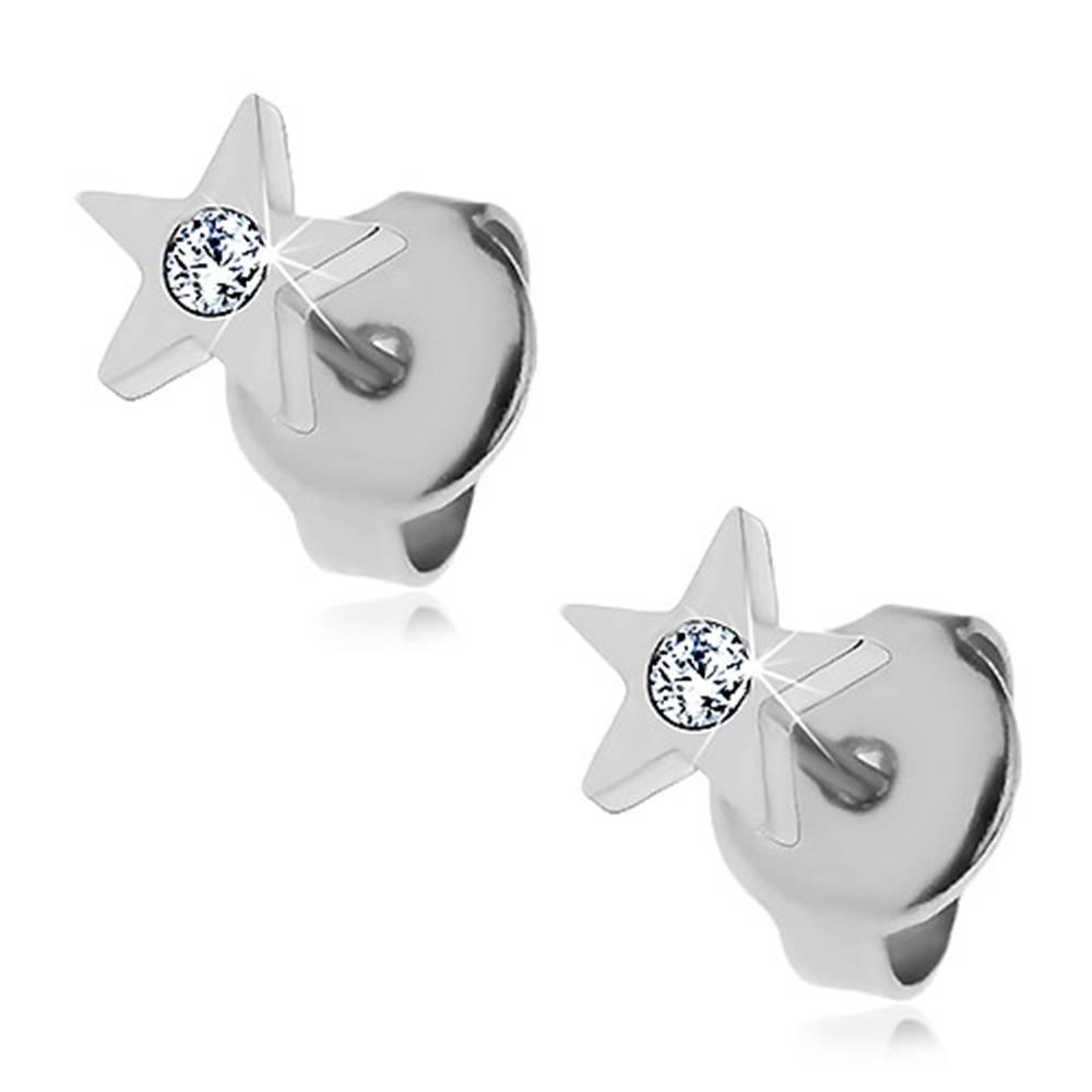 Šperky eshop Oceľové náušnice - päťcípa hviezdička so zirkónom, puzetky