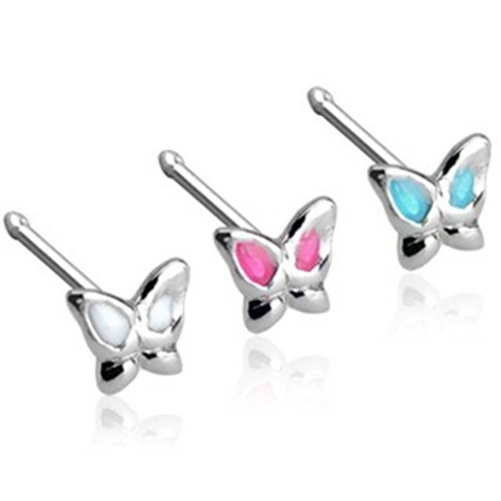 Šperky eshop Piercing do nosa rovný motýlik, striebro 925 - Farba piercing: Aqua