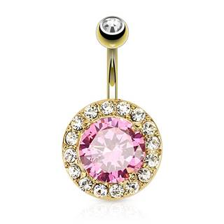 Oceľový piercing do brucha, zlatá farba, okrúhly ružový zirkón, číry lem
