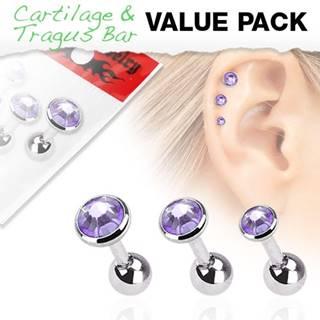 Oceľový set troch piercingov do ucha, okrúhle tanzanitové kamienky