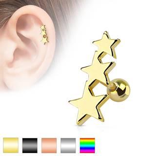 Piercing do tragusu z chirurgickej ocele - tri spojené hviezdy, gulička, rôzne farby - Farba piercing: Čierna