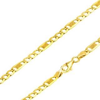 Retiazka zo žltého 14K zlata, tri očká, dlhý článok s mriežkou, 450 mm