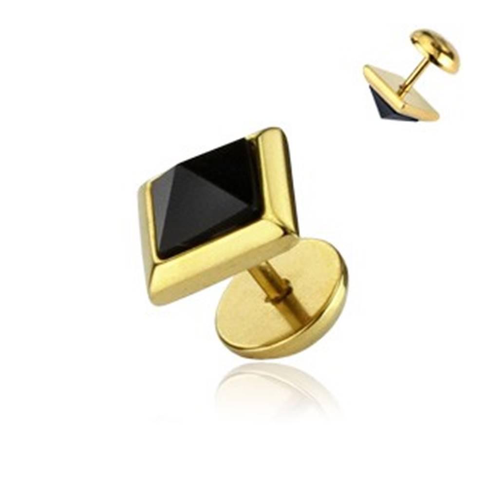 Šperky eshop Falošný plug do ucha - zlatej farby, onyxová pyramída