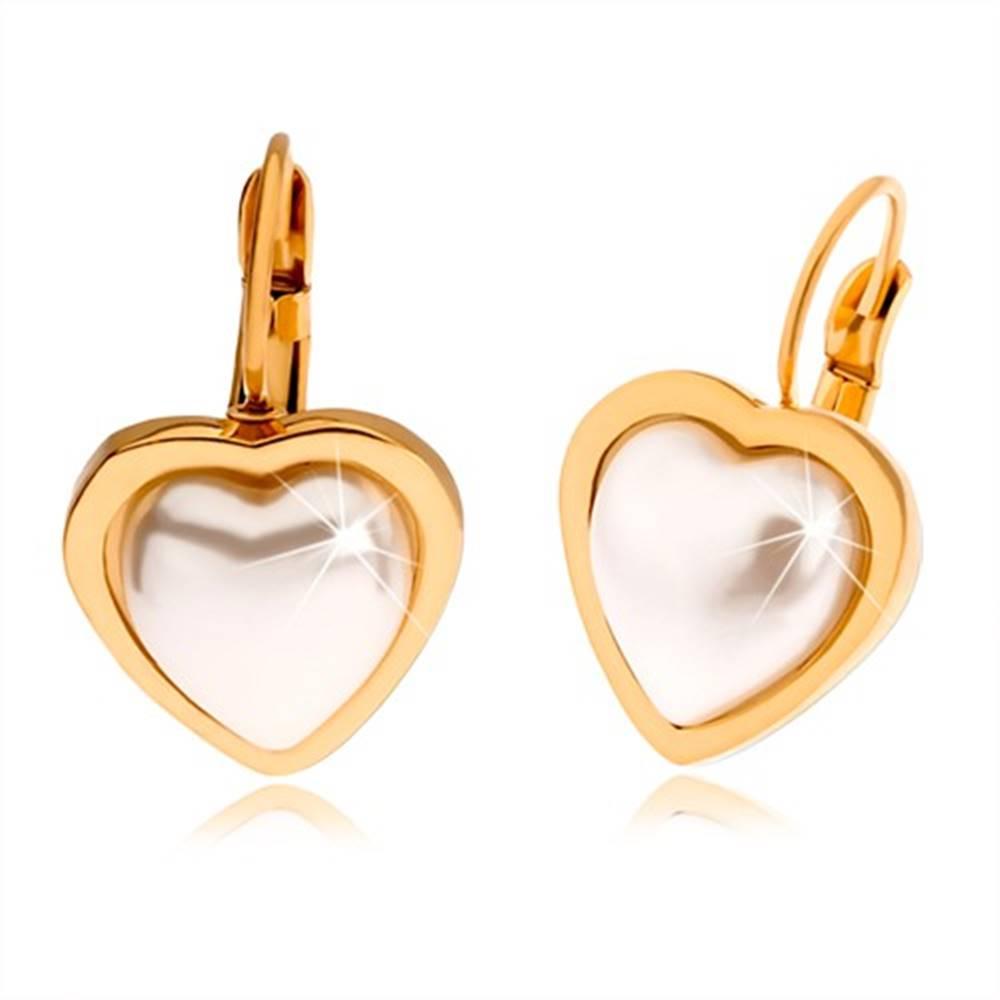Šperky eshop Oceľové náušnice zlatej farby, perleťovo biely kamienok tvaru srdca
