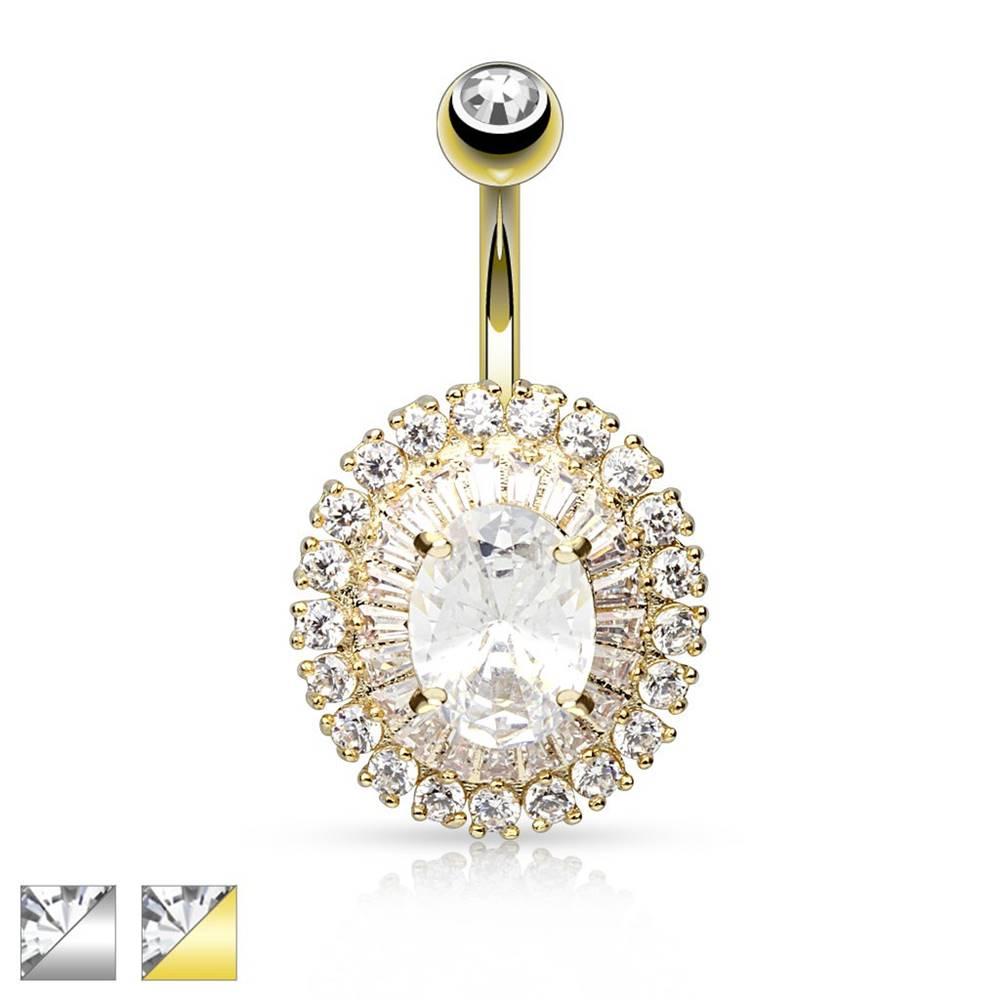 Šperky eshop Piercing do brucha z chirurgickej ocele, veľký trblietavý ovál z čírych zirkónov - Farba: Strieborná