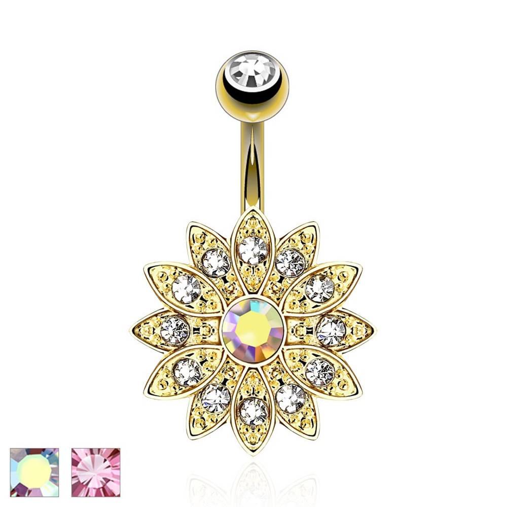 Šperky eshop Piercing do pupku, oceľ 316L, zlatá farba, trblietavý zirkónový kvet  - Farba piercing: Dúhová
