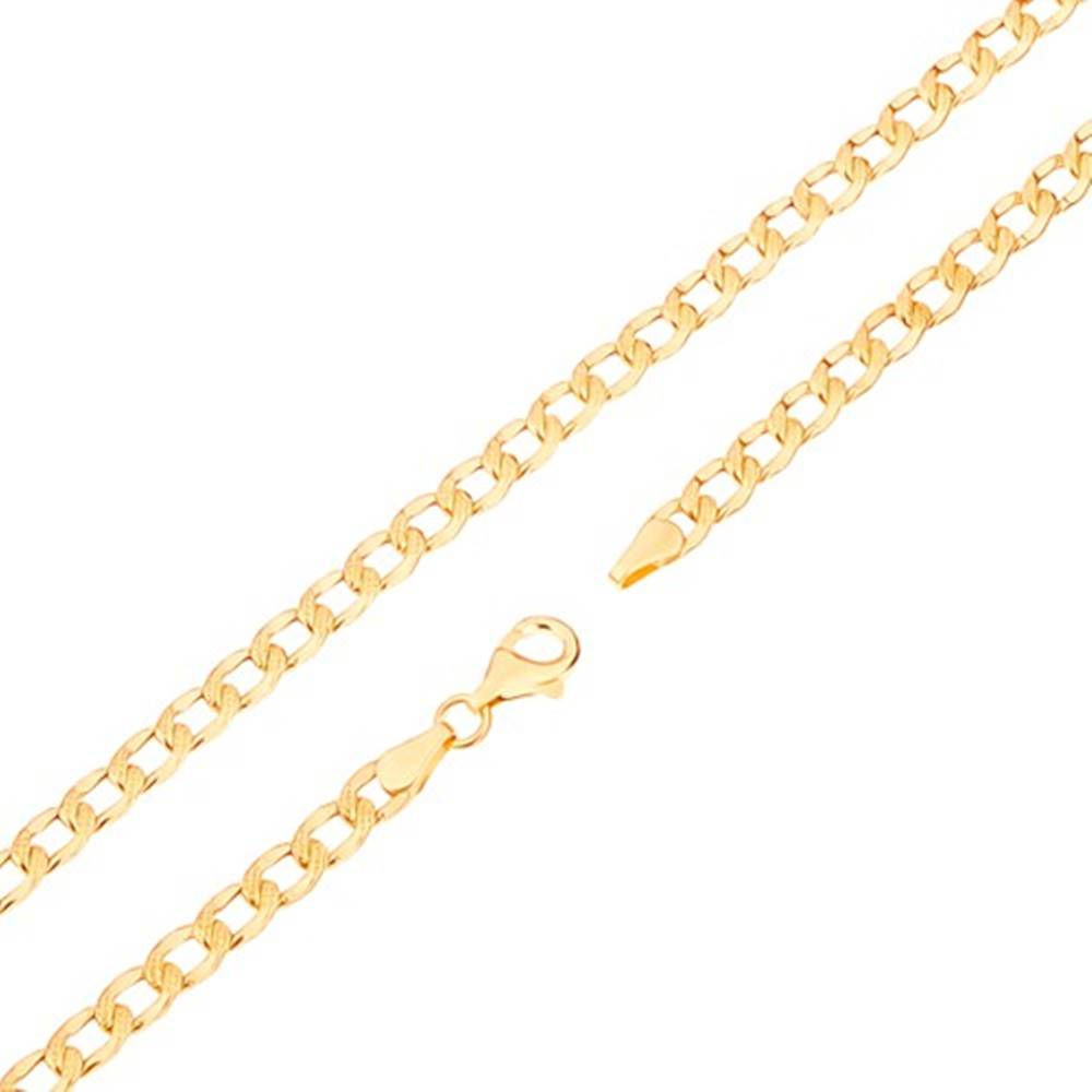 Šperky eshop Retiazka v žltom 14K zlate - oválne články s gravírovanými bodkami, 450 mm