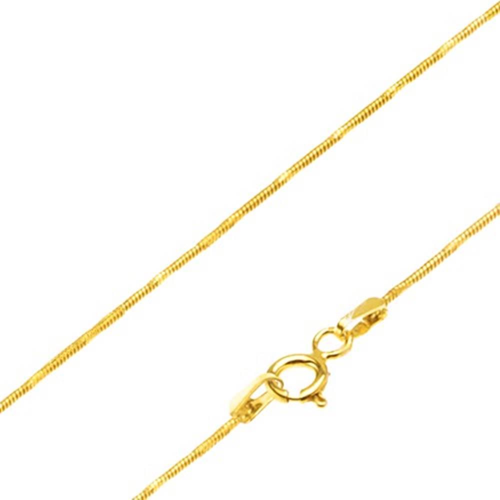 Šperky eshop Retiazka zo žltého 14K zlata - články vo vzore hadej kože, ryhy, 450 mm