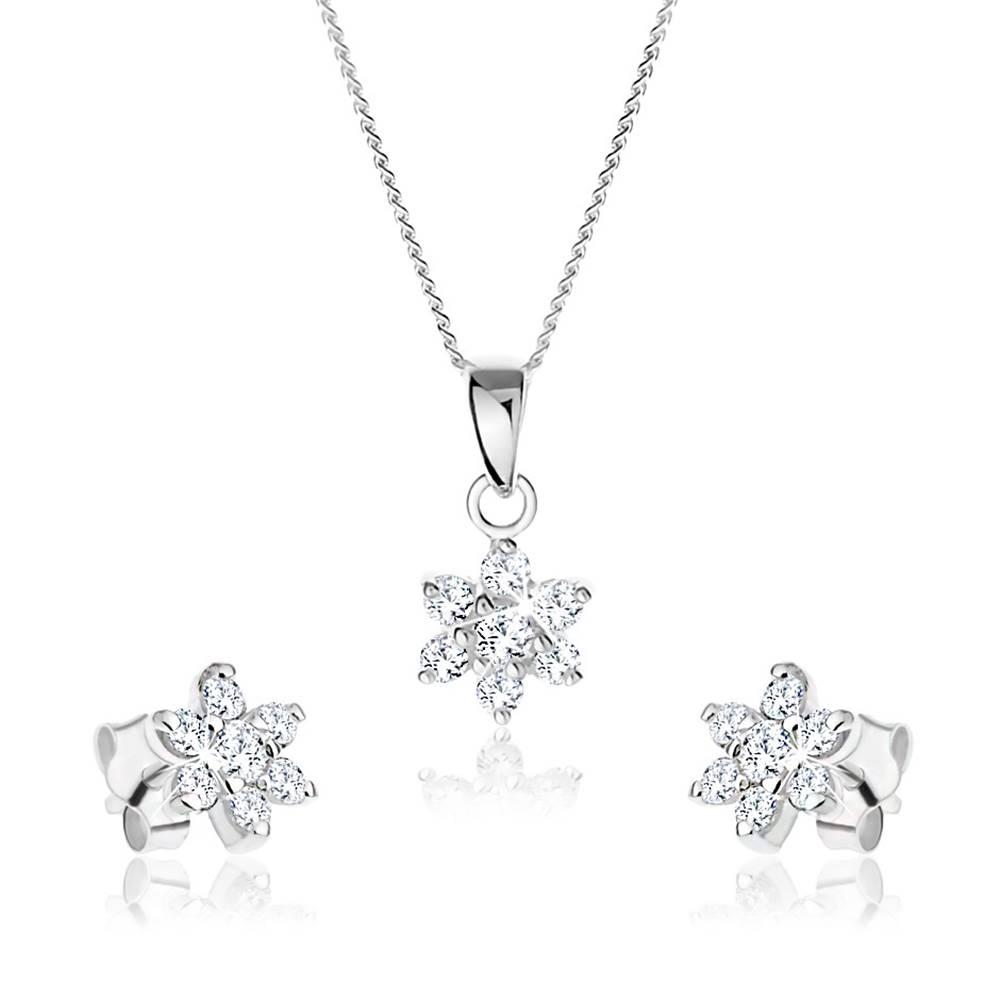 Šperky eshop Set náhrdelníka a náušníc zo striebra 925, číry zirkónový kvietok