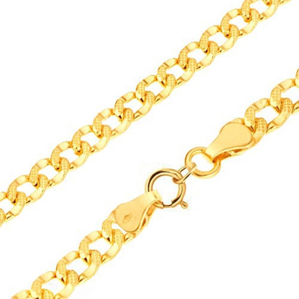 Šperky eshop Zlatý náramok 585 - hrubšie oválne očká zdobené drobnými jamkami, 200 mm