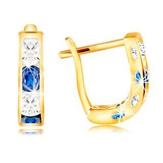 Náušnice v žltom 14K zlate - oblúčik zo zirkónov čírej a modrej farby