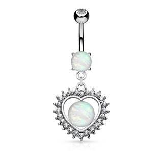 Piercing do brucha z ocele 316L, srdce so syntetickým opálom a zirkónikmi
