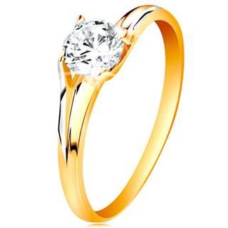 Prsteň v 14K zlate - trblietavý číry zirkón v lesklom vyvýšenom kotlíku - Veľkosť: 49 mm