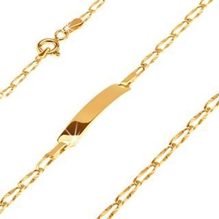 Zlatý 14K náramok s platničkou - podlhovasté lúčovito ryhované očká, 170 mm