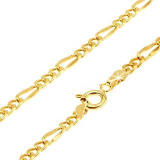 Zlatý náramok 585, Figaro - tri oválne očká, dlhšie sploštené očko, 190 mm