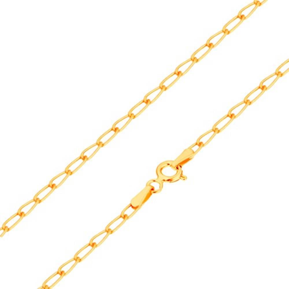 Šperky eshop Náramok zo žltého 14K zlata - lesklé ploské oválne očká, 180 mm