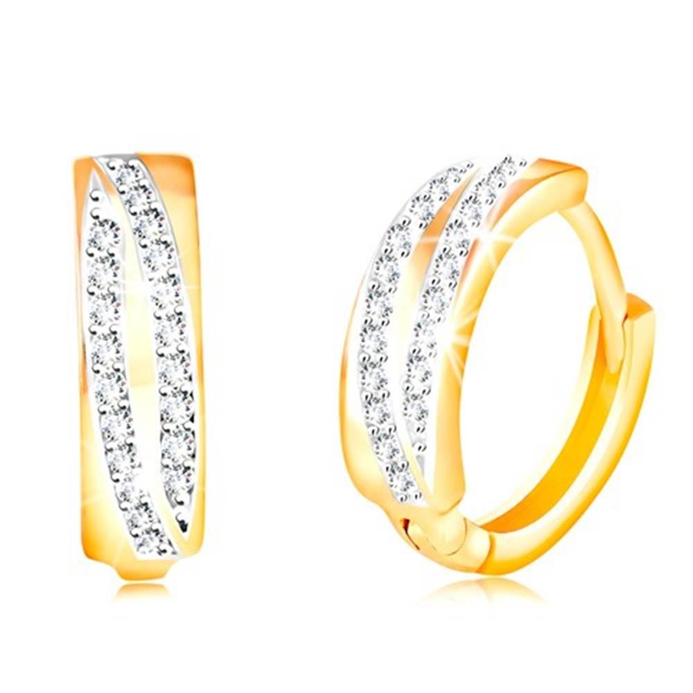 Šperky eshop Okrúhle náušnice v 14K zlate - dva ligotavé oblúky z čírych zirkónov