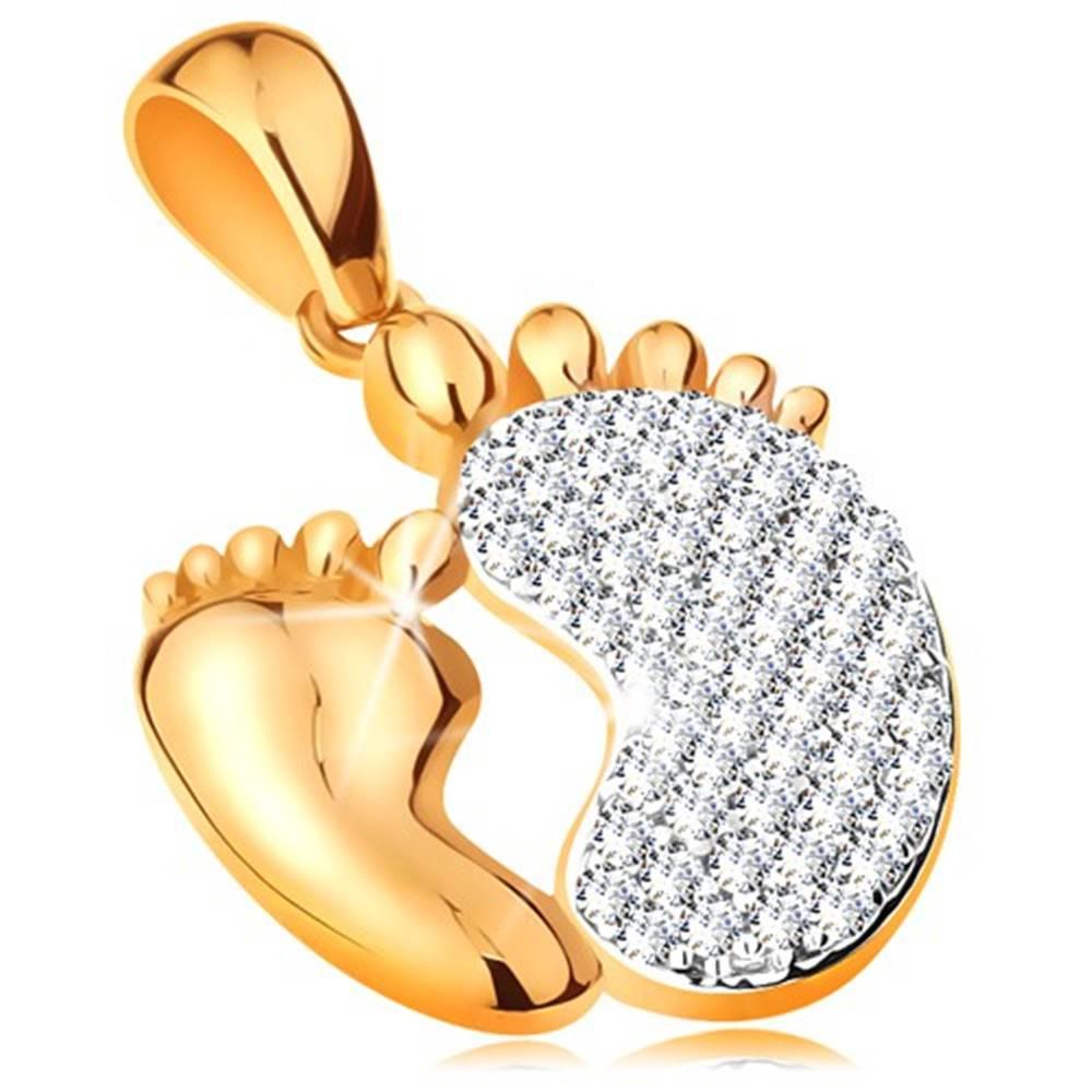 Šperky eshop Prívesok v 14K zlate - dve chodidlá - hladké menšie a zirkónové väčšie