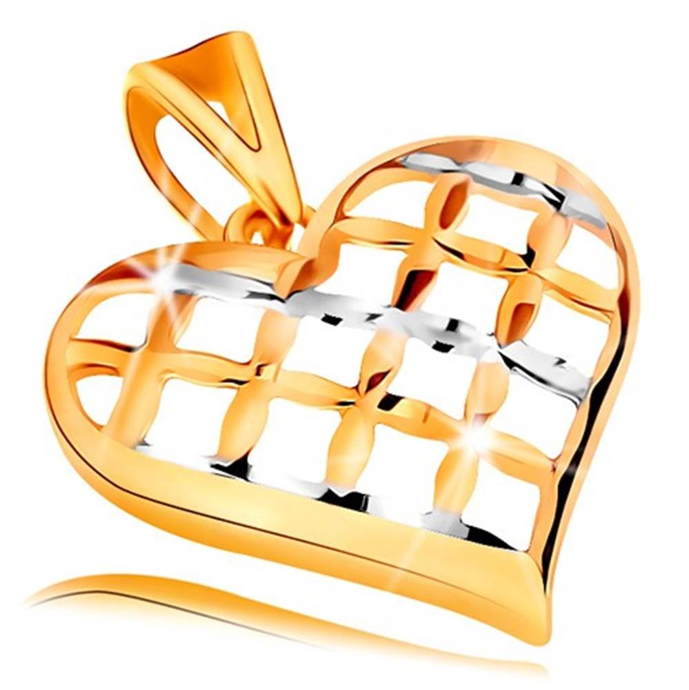 Šperky eshop Prívesok v 14K zlate - lesklé mriežkované srdce v dvojfarebnom prevedení