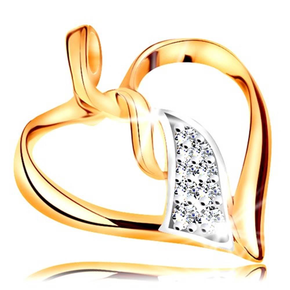 Šperky eshop Prívesok v 14K zlate - lesklý obrys srdca, prepojené dvojfarebné vlnky v strede