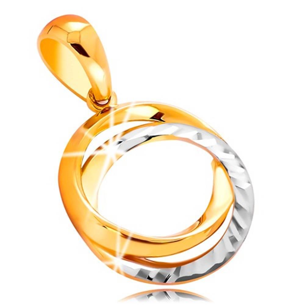 Šperky eshop Prívesok zo 14K zlata - prepojené obruče s gravírovaním, dvojfarebné prevedenie