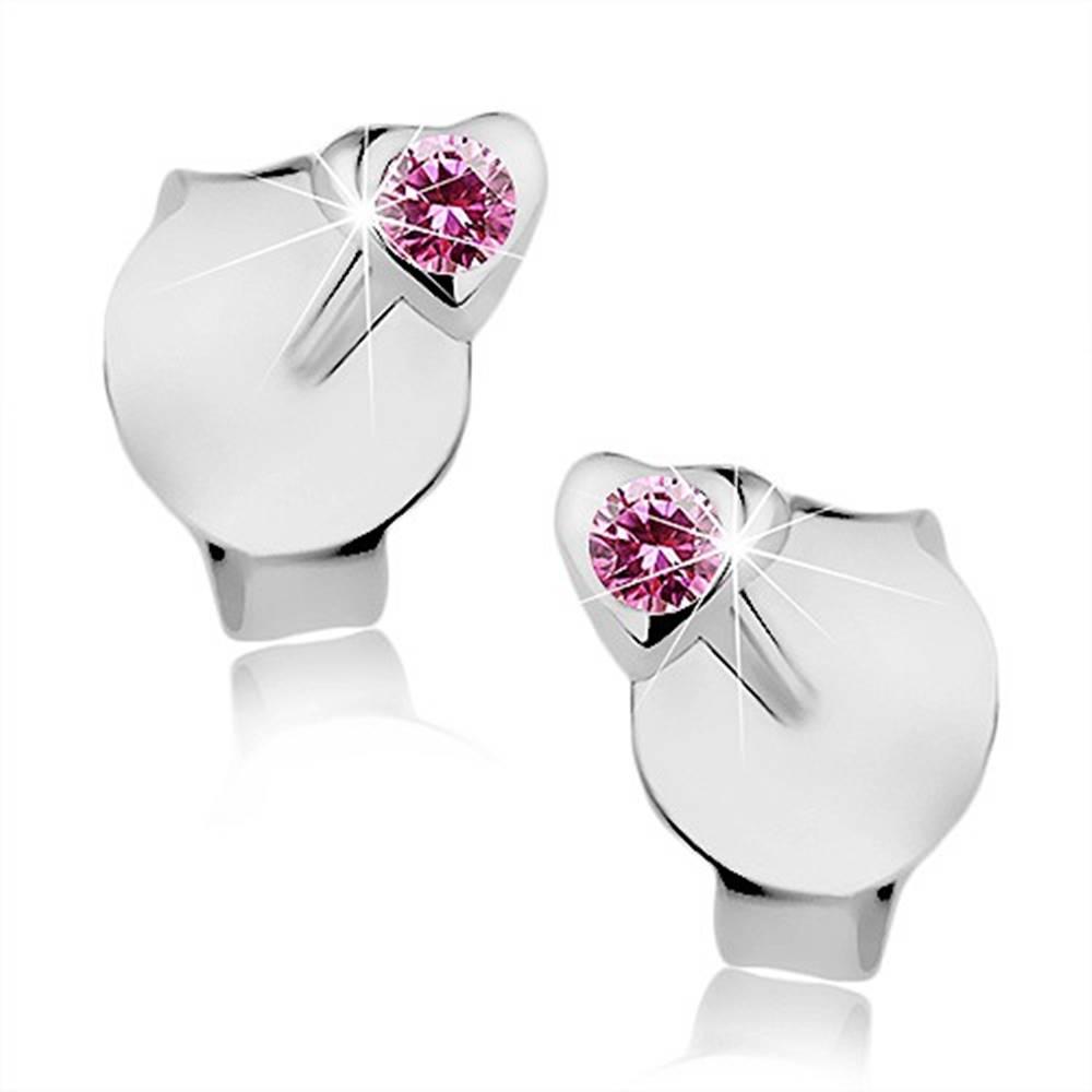 Šperky eshop Puzetové náušnice, striebro 925, drobné srdiečko, ružový Swarovski krištálik