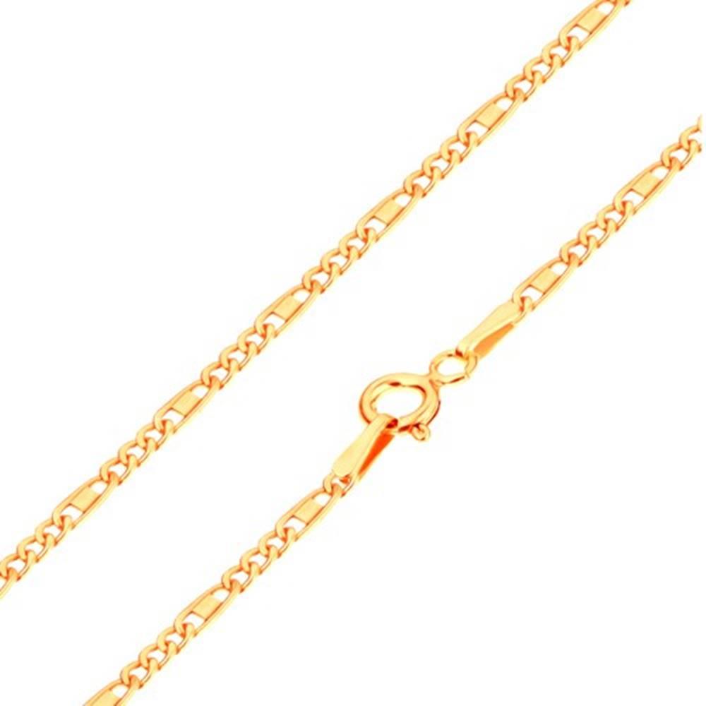Šperky eshop Retiazka zo žltého 14K zlata - oválne a podlhovasté očká, obdĺžnik, 550 mm