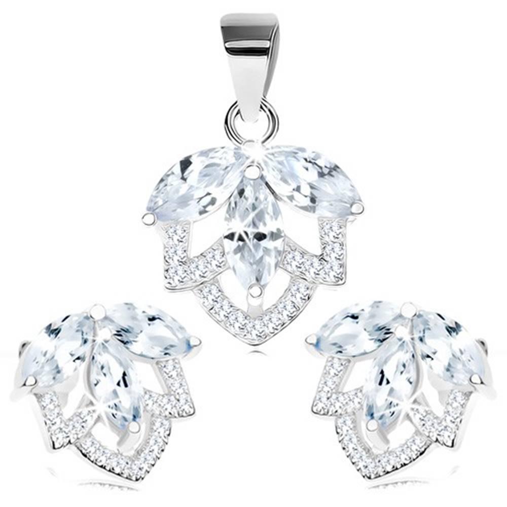 Šperky eshop Strieborná 925 sada - náušnice a prívesok, trblietavý kvet z čírych zirkónov