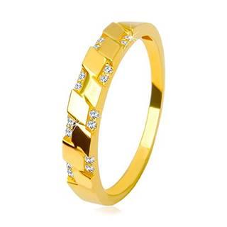Prsteň v žltom 14K zlate - trblietavé okrúhle zirkóniky, motív kosoštvorcov - Veľkosť: 49 mm