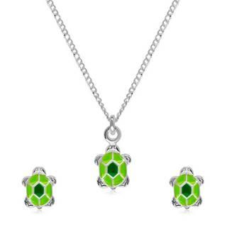 Strieborná 925 dvojdielna sada - náhrdelník a náušnice, korytnačka so zelenou glazúrou na pancieri