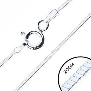 Tenká štvorhranná retiazka, striebro 925, šírka 0,6 mm, dĺžka 500 mm